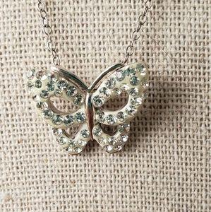 AU 925 butterfly diamond encrusted pendant